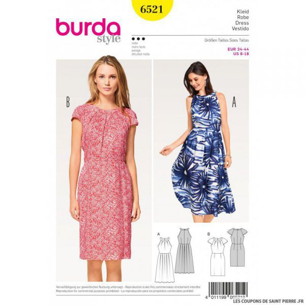 Patron Burda n°6541 : Top & Robe ample facile