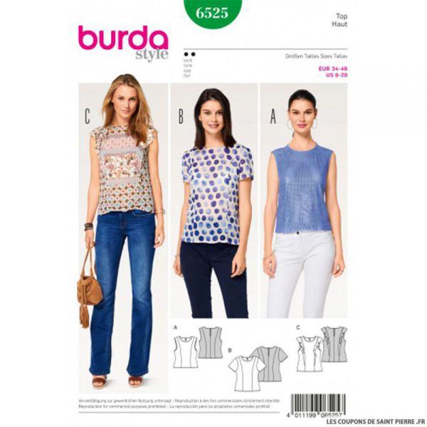 Patron Burda n°6525:  Top simple