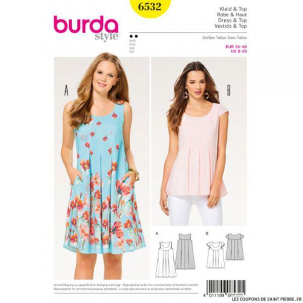 Patron Burda n°6532: Robe & Haut plissée