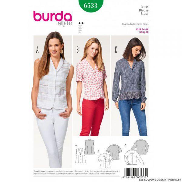 Patron Burda n°6533:  blouse à col châle