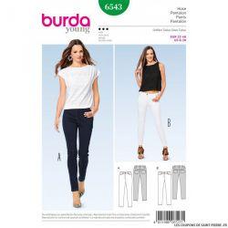 Patron Burda n°6543:  Pantalon - Jeans féminin