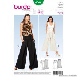 Patron Burda n°6544:  Pantalon jambes amples