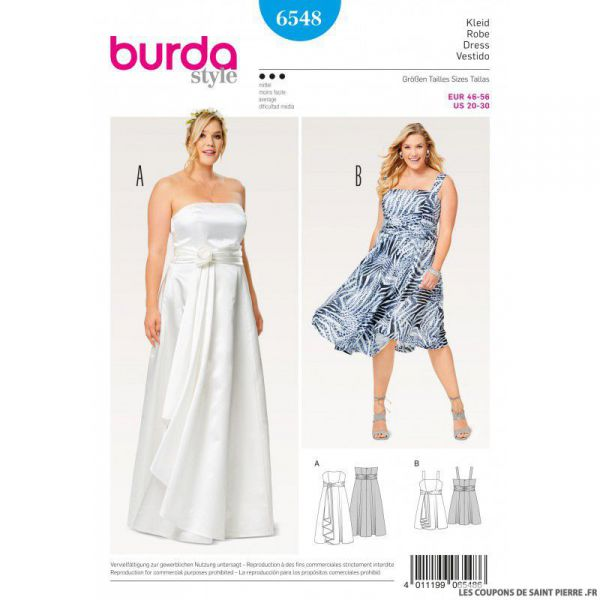 Patron Burda n°6548: Robe de mariée