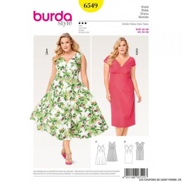 Patron Burda n°6549: Robe encolure V
