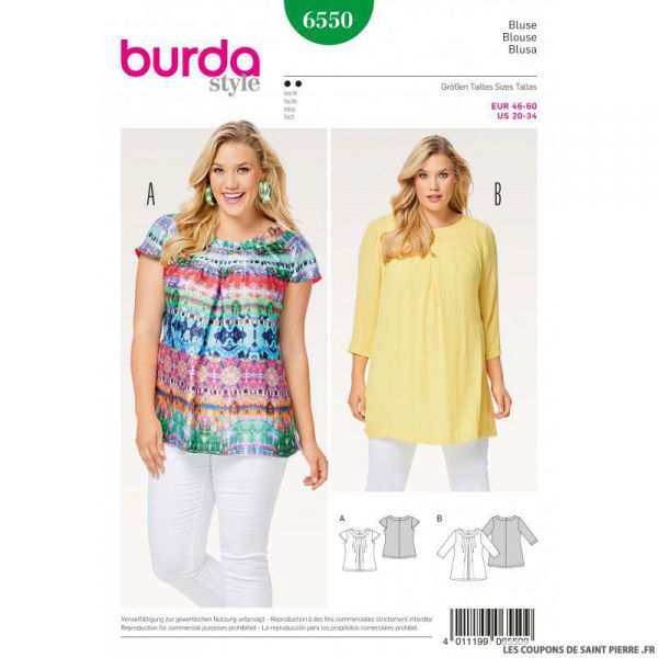 Patron Burda n°6550: Blouse simple