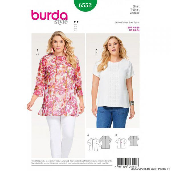 Patron Burda n°6552 : Tee-shirts sobre
