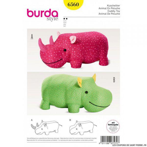 Patron Burda n°6560: Hippopotame géant