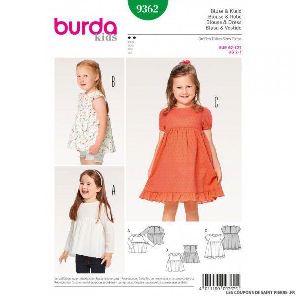 Patron Burda n°9362: Blouse à fronce
