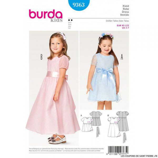 a86011f19bb73 Patron Burda n°9363  Robe de princesse enfant