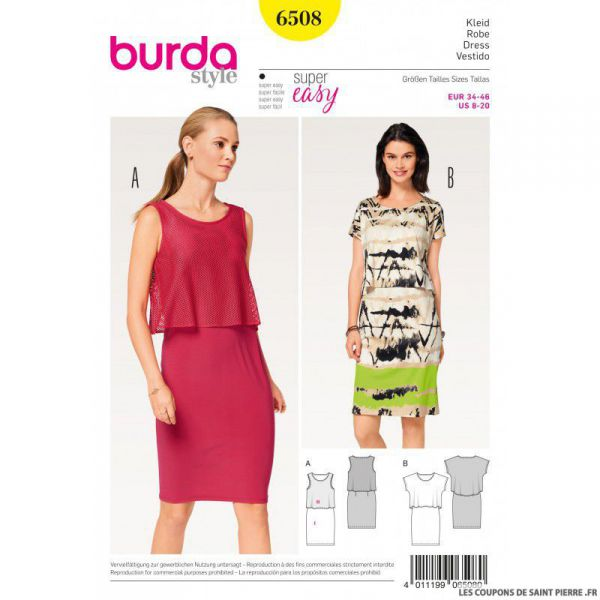 Patron Burda n°6508: Robe & Top