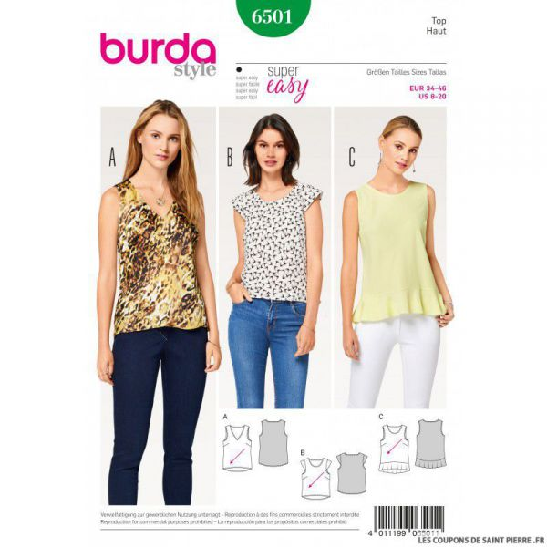 Patron Burda n°6501: Top simple