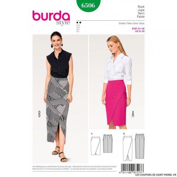Patron Burda n°6506: Jupe droite à effet croisé