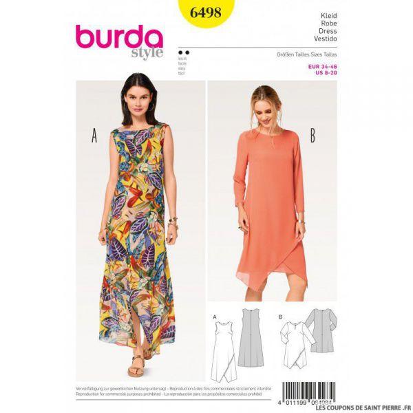 Patron Burda n°6498: Robe double épaisseur