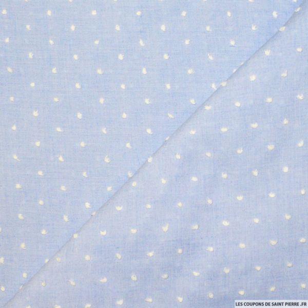 Tissu voile Plumetis coton ciel
