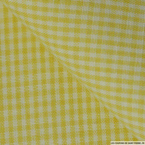 Tissus 100 % Lin petits carreaux jaune