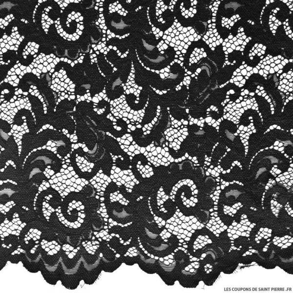 Tissu Dentelle festonnée noir