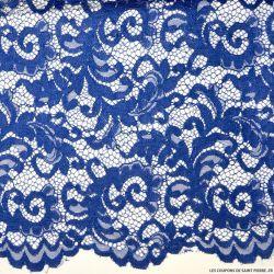 Tissu Dentelle festonnée bleu roi
