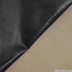 Tissu 100% Lin taupe enduit noir