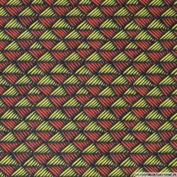 Coton imprimé scandinave rouge et citron
