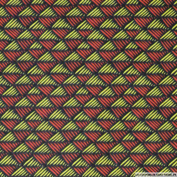 Tissu Coton imprimé scandinave rouge et jaune