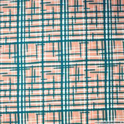 Coton imprimé graphique saumon et vert