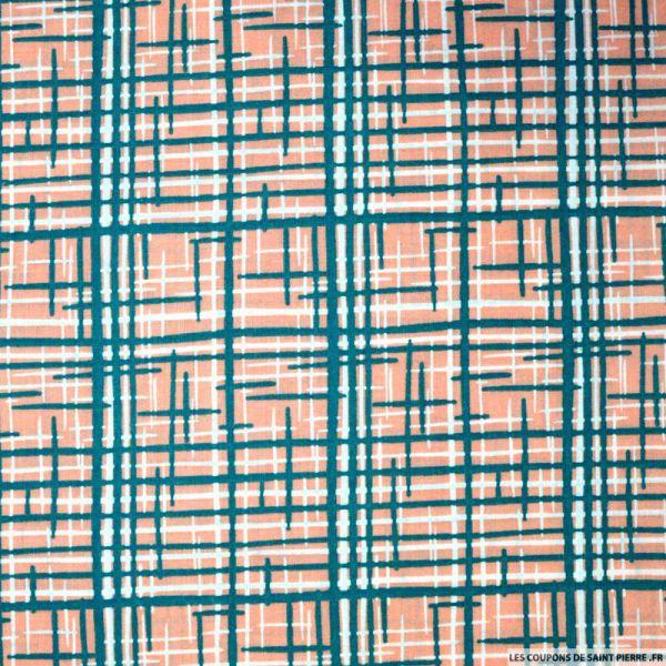 Tissu Coton imprimé graphique saumon et vert