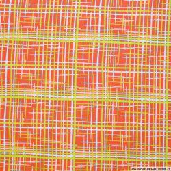 Coton imprimé graphique orange et citron