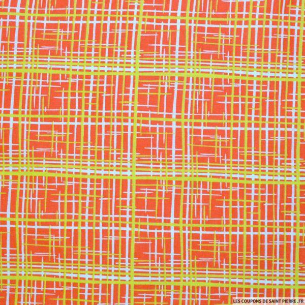 Tissu Coton imprimé graphique orange et citron