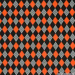 Coton imprimé château de cartes rouge