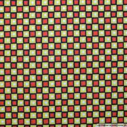 Coton imprimé carreaux rouge et citron