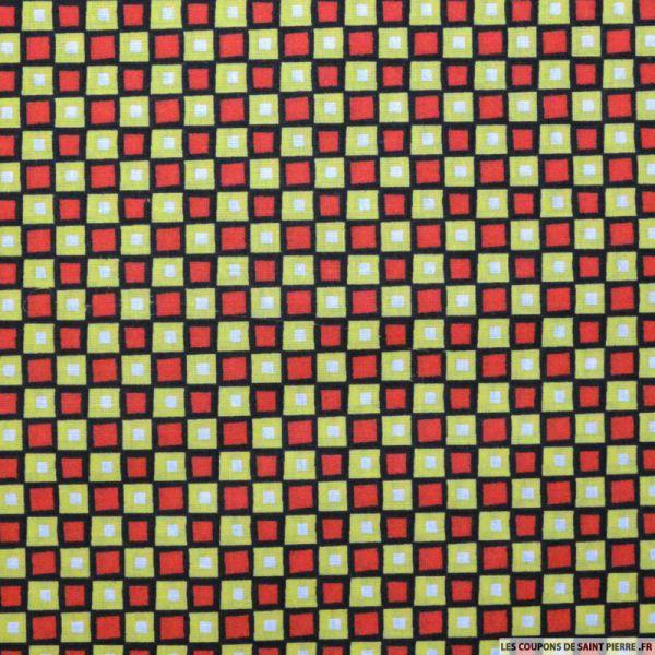 Tissu Coton imprimé carreaux rouge et citron