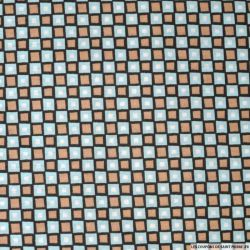 Coton imprimé carreaux marron et bleu