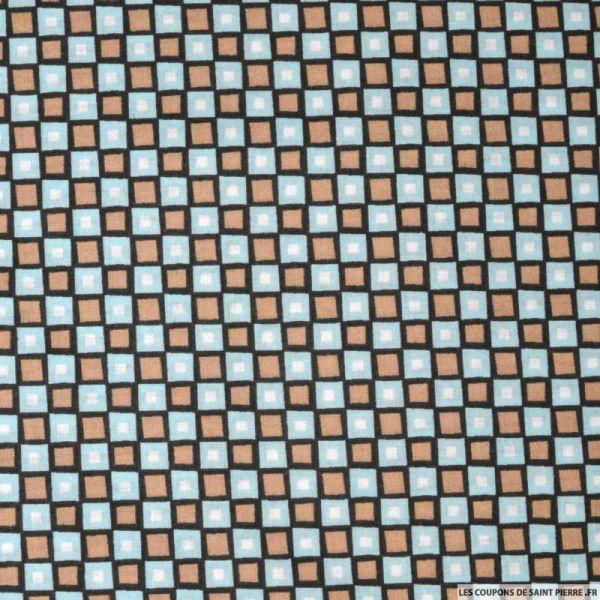 Tissu coton imprimé carreaux marron et bleu