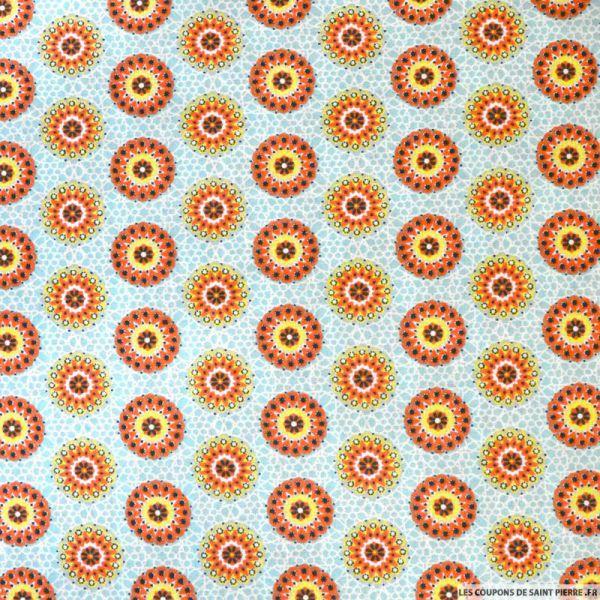 Coton imprimé rosaces orange et jaune