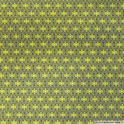 Tissu Coton imprimé vintage citron