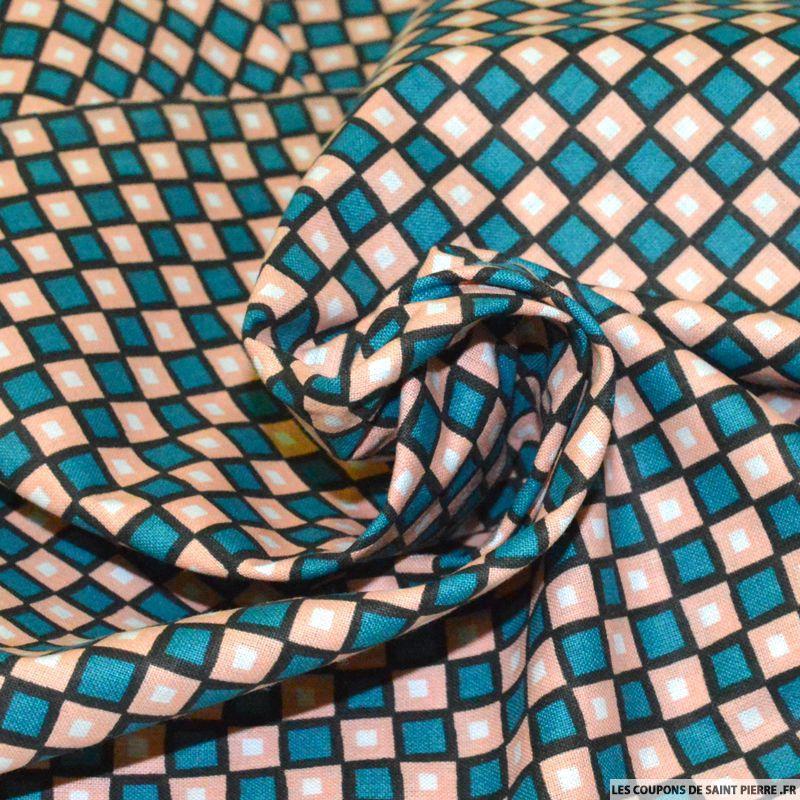 Tissu coton imprim carreaux saumon et vert - Les tissus de st pierre ...