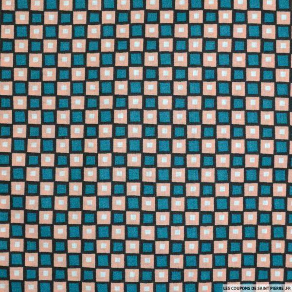Tissu Coton imprimé carreaux saumon et vert