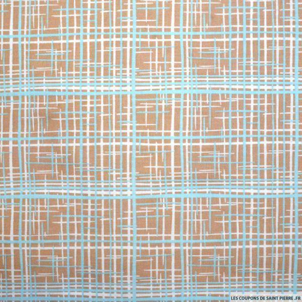Tissu Coton imprimé graphique marron et bleu
