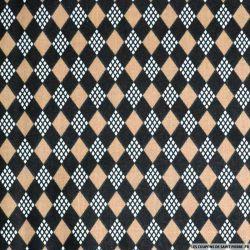 Tissu coton imprimé château de cartes marron