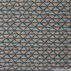 Coton imprimé scandinave bleu et saumon