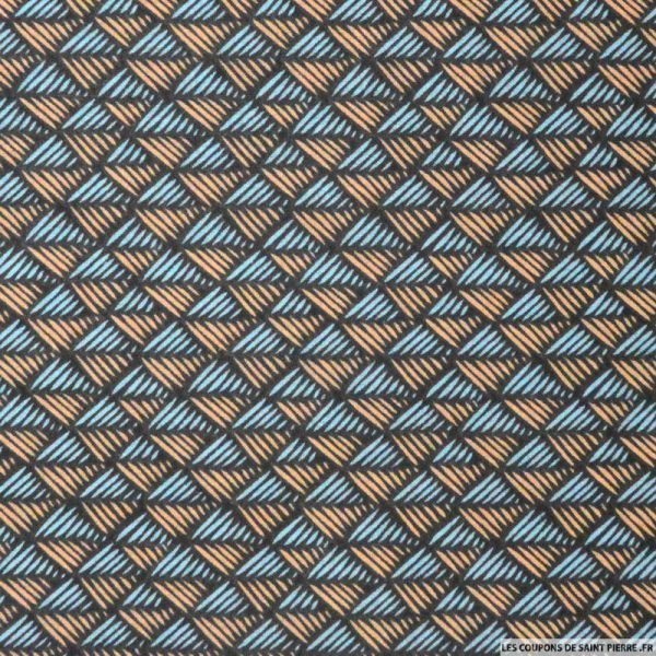 Tissu Coton imprimé scandinave vert et saumon
