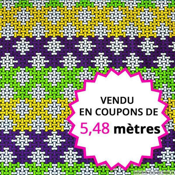 Wax africain puzzle vert et violet vendu en coupons de 5,48 mètres
