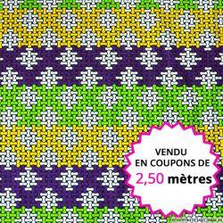 Wax africain puzzle vert et violet vendu en coupon de 2,50 mètres