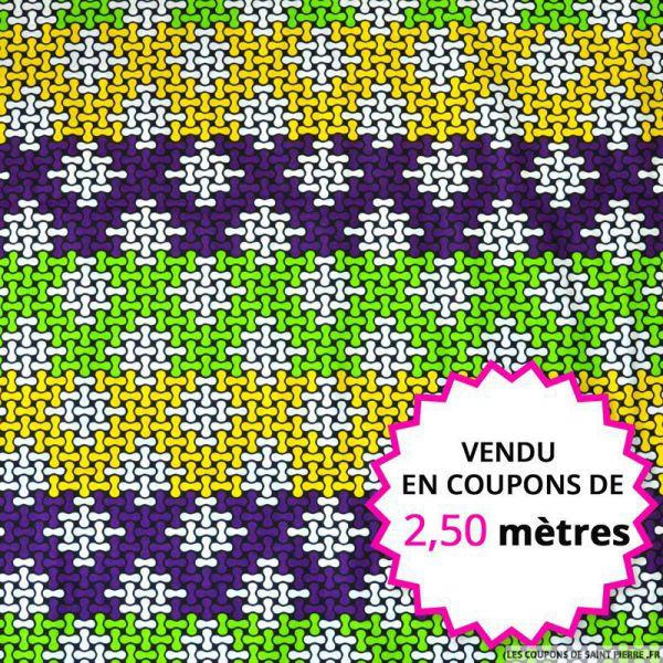 Wax africain puzzle vert et violet vendu en coupons de 2,50 mètres