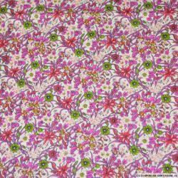 Coton imprimé fleurs roses et jaunes sur fond blanc