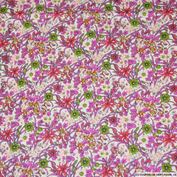 Tissu coton imprimé fleurs verte et rose