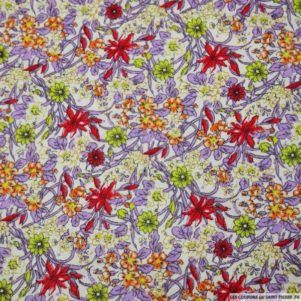 Tissu coton imprimé fleurs violet et rouge