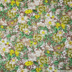 Tissu coton imprimé fleurs marron et jaune