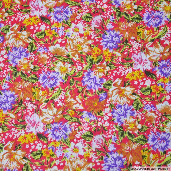 Tissu coton imprimé fleurs rouge et jaune
