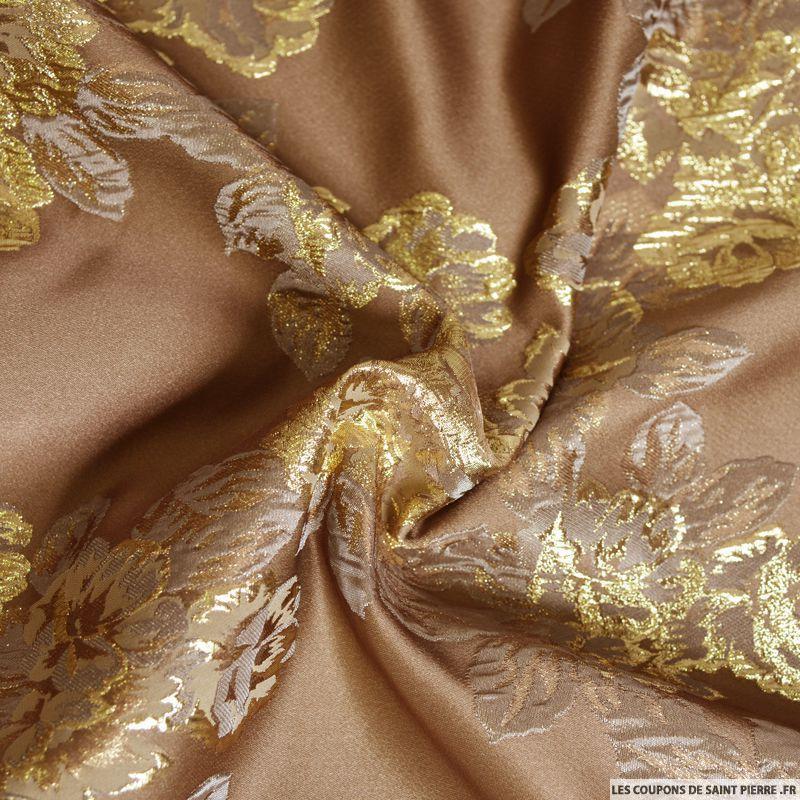 Tissu brocart taupe fleurs or - Les tissus de saint pierre ...